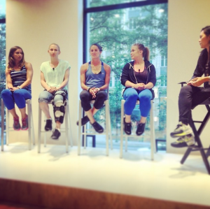 L-R: Kate Hiippaka (Nike Master Trainer); Courtney Vandersloot (Chicago Sky PG); Julianne Sitch (Chicago Red Stars MF); Shawn Johnson (Olympic gymnast)